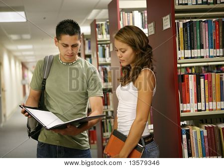 Friends comparing notes in a school library