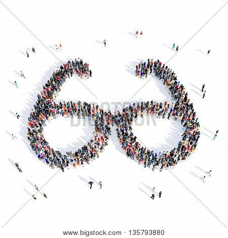 Large and creative group of people gathered together in the form of glasses , medicine, image. 3D illustration, isolated against a white background.