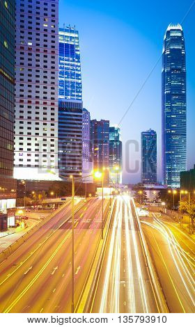 City Highway Light Trails Of Modern Landmark Buildings Backgrounds In Hongkong