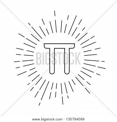 Flat mathematic Pi icon. Stock vector. Vector illustration.