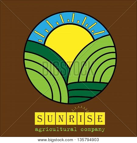 Logo of agricultural company round logo of the fields and hills acts as the sun on a background of blue sky for agricultural companies and design