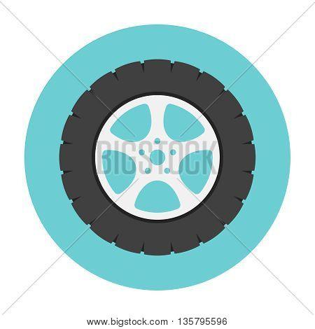 Car wheel flat icon. Car repair service spare part