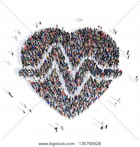 Large and creative group of people gathered together in the shape of heart, cardio, medical, image. 3D illustration, isolated against a white background.