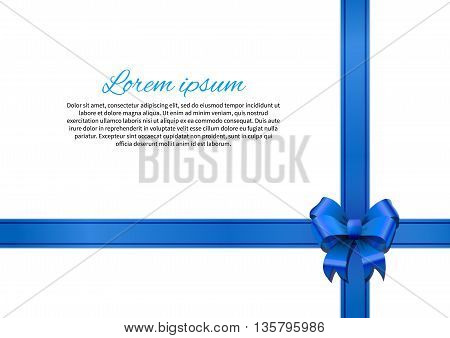 White gift card with blue bow and ribbon