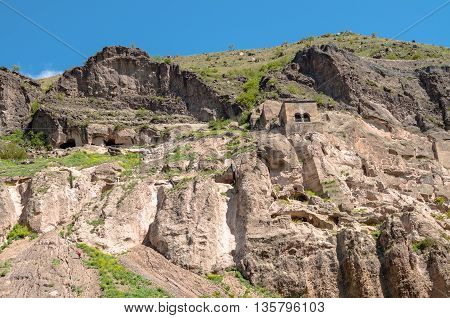 View of Vardzia cave city complex in Georgia