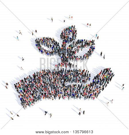 Large and creative group of people gathered together in the shape of watering flowers, garden, picture. 3D illustration, isolated against a white background.