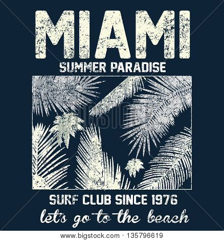 Miami beach typography with floral illustration for t-shirt print vector illustration.