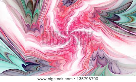 Displacement time and spiral space. 3D illustration. Sacred geometry. Mysterious psychedelic relaxation pattern. Fractal abstract texture. Digital artwork graphic design astrology alchemy magic.