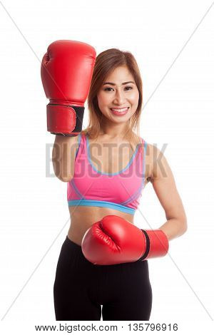 Beautiful Healthy Asian Girl With Red Boxing Glove