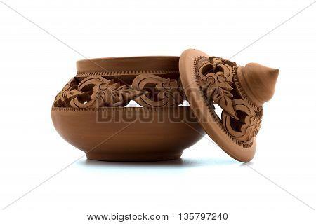 Thai art earthenware White background , Art of Thailand