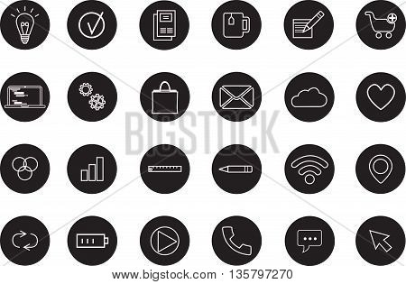 Media and communication icons, Set of application development