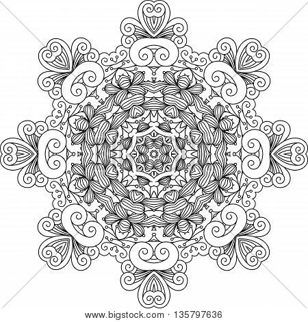 Intricate geometric symmetrical pattern with ornate shapes over white background