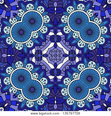 Intricate geometric blue and purple symmetrical pattern with ornate shapes as full frame tile