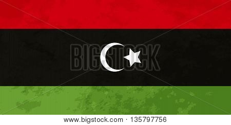 True proportions Libya flag with grunge texture