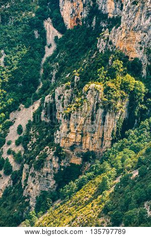 Rocky background of the Gorges Du Verdon in south-eastern France. Provence-Alpes-Cote d'Azur.