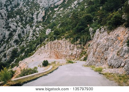 Mountain Road In Verdon Gorge In France. French Landscape. Panorama