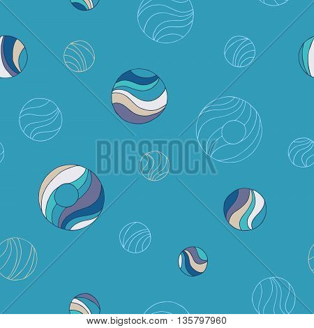 Abstract background blue beige circle seamless pattern illustration vector