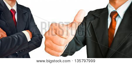 Businessman showing gesturing Thumbs up and portrait  in suit with red tie