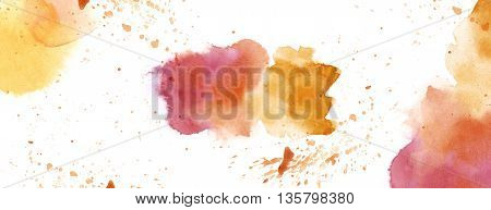 Watercolour With Splash Spot Background White Copy Space