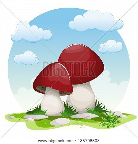 Illustration of two cartoon mushrooms in grass