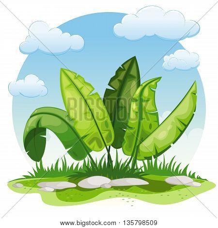 Illustration of cartoon plants in the summer