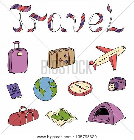 Travel text graphic art color red violet isolated set illustration vector