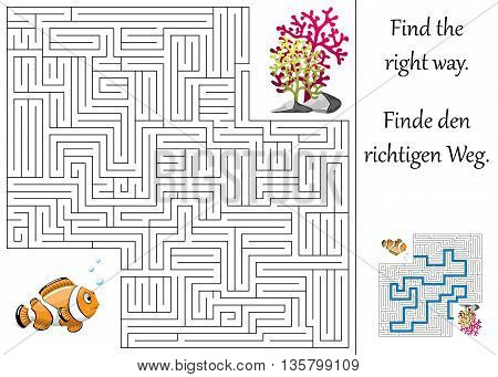 Enducation maze or labyrinth for children with clownfish and plants