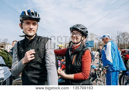 Gomel, Belarus - April 10, 2015: Cyclists in sportswear for cycling at opening of the cycling season in the city