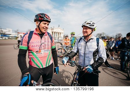 Gomel, Belarus - April 10, 2015: Older men cyclists in sportswear for cycling at opening of the cycling season in the city