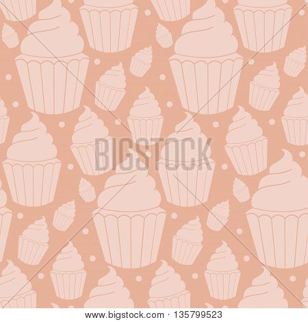 Seamless Pattern Of Homemade Cupcakes. Vector Illustration