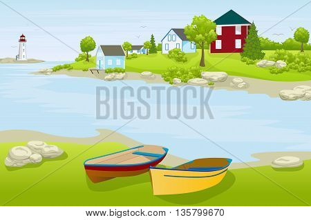 urban summer landscape with tow boats and houses