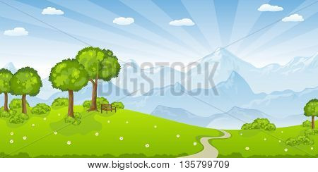 summer landscape with mountains and some trees