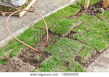Bended copper pipe is coming out from the ground around grass roots.