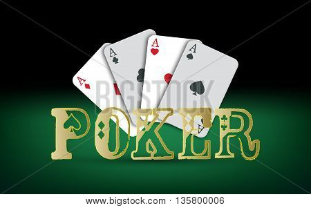 Poker cards. Vector Casino elements. Poker text