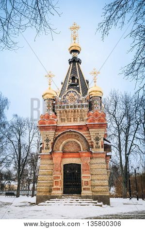 Chapel-tomb of Paskevich , 1870-1889 years, in Gomel, Belarus. Winter season