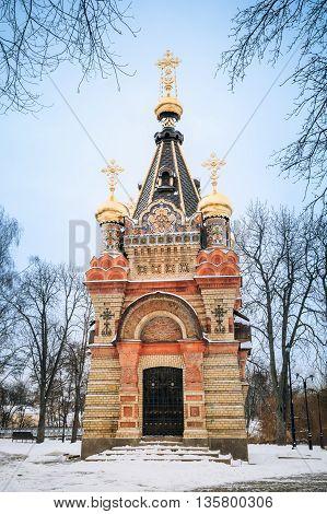 Chapel-tomb of Paskevich , 1870-1889 years, in Gomel, Belarus. Winter season
