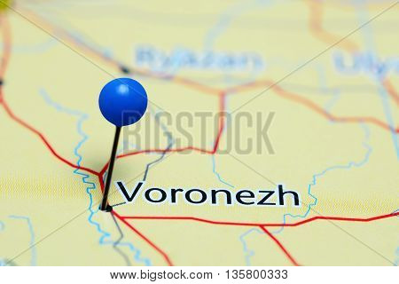 Voronezh pinned on a map of Russia