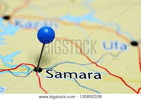 Samara pinned on a map of Russia