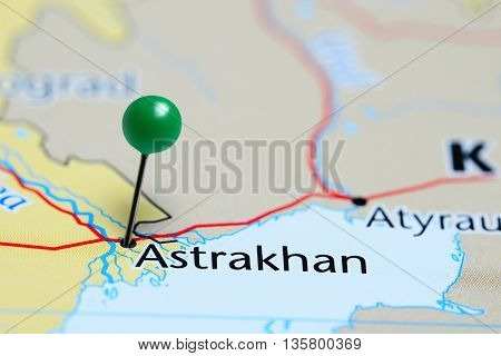 Astrakhan pinned on a map of Russia