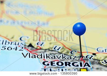 Vladikavkaz pinned on a map of Russia