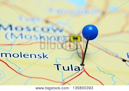 Tula pinned on a map of Russia