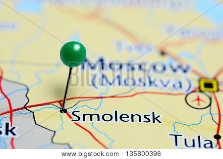 Smolensk pinned on a map of Russia