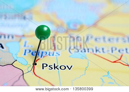 Pskov pinned on a map of Russia