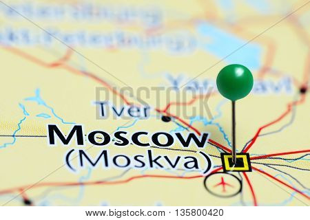 Moscow pinned on a map of Russia