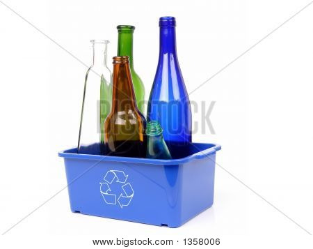 Blue Disposal Bin And Color Glass Bottles