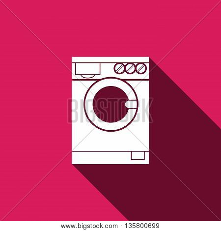 washing machine icon with long shadow, flat symbol isolated