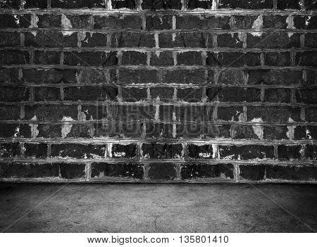 Dark Room. Concrete Floor And Brick Wall