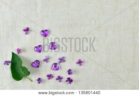 violet heart lilac flowers and leaves on fabric background.Daydreams. Memories of spring. Background Top view.Mothers Day.Memories of childhood.Congratulations to mom.Romance.Provence.