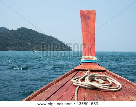 Traveling by boat among the Island. Travel by longtail boat at the tropical beach in Andaman sea Thailand