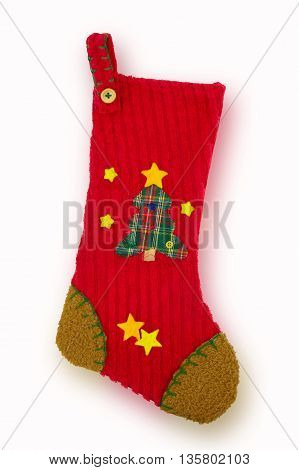 Christmas stocking isolated on white background. Christmas concept
